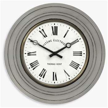 Thomas Kent Cheval Wood Effect Wall Clock, Grey (Diameter 40cm)