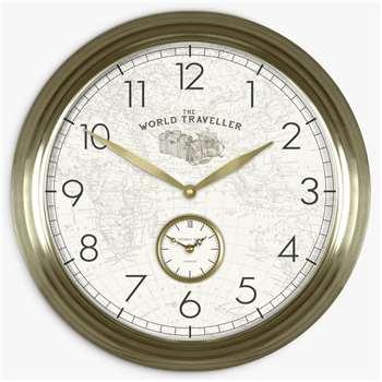 Thomas Kent Greenwich World Traveller Arabic Numerals Analogue Wall Clock, Gold (Diameter 53cm)