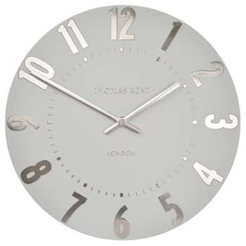 Thomas Kent Mulberry Wall Clock, Silver Cloud (H30 x W30 x D3.4cm)