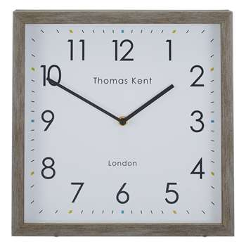 Thomas Kent Smithfield Square Wood Finish Clock, Grey (H30 x W30 x D6cm)