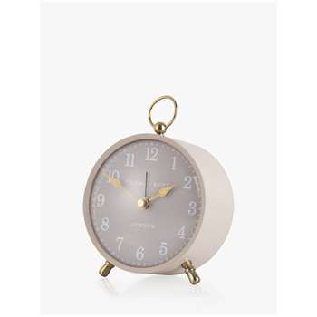 Thomas Kent Wren Silent Sweep Analogue Arabic Numeral Alarm Clock, Plaster (H10 x W10 x D5cm)