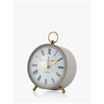 Thomas Kent Wren Silent Sweep Analogue Roman Numeral Alarm Clock, Dove (H10 x W10 x D5cm)