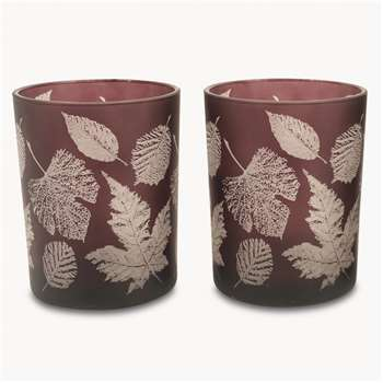 Thornton Set of 2 Tea Lights with Leaf Design, Large (18 x 12cm)