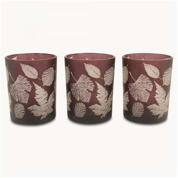 Thornton Set of 3 Tea Lights with Leaf Design, Small (8 x 7.3cm)