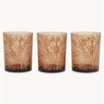 Thornton Set of 3 Tea Lights with Tree Design, Small (8 x 7.3cm)
