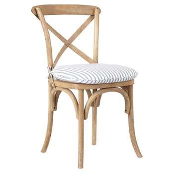 Ticking Stripe Cushion Cover For Camargue Chair - Blue (44 x 48cm)
