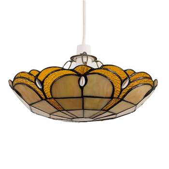Tiffany Style Amber Jewelled Glass Pendant Light Shade (H8.5 x W35 x D31cm)