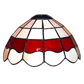 Tiffany Style White And Red Stained Glass Pendant Light Shade (H15 x W25.5 x D25.5cm)