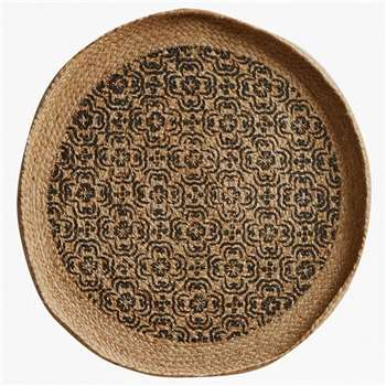 Tile Large Wall Basket - Natural & Black (H50 x W50cm)