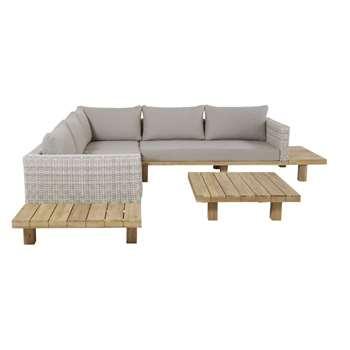 TILLANDSIA Solid Acacia and Grey Canvas 4-6 Seater Garden Sofa (H57 x W265 x D265cm)