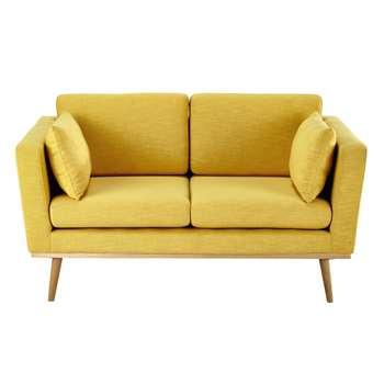 TIMEO 2 seater fabric sofa in yellow (78 x 145cm)