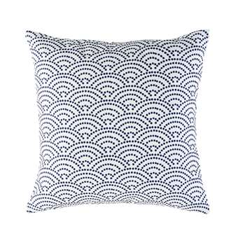 TINOS White Outdoor Cushion with Blue Graphic Motifs (45 x 45cm)