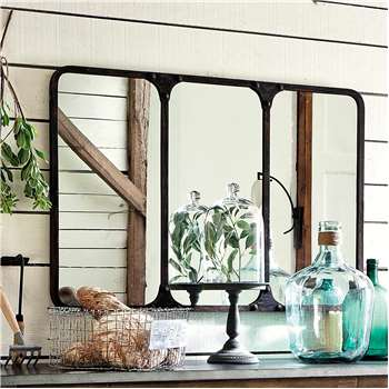 TITOUAN antiqued metal industrial mirror in black H 72cm