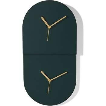 Tivo Dual Time Zone Wall Clock, Dark Green (H50 x W25 x D5cm)