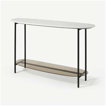 Tiziana Console Table, White Marble & Amber Glass (H75 x W120 x D35cm)