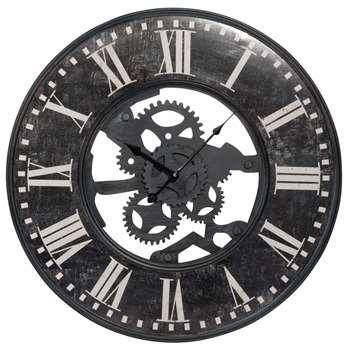 TOBIAS - Antique Effect Black Metal Cog Clock (Diameter 60cm)