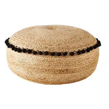 TOCOA Jute Pouffe with Black Pompoms (25 x 70cm)
