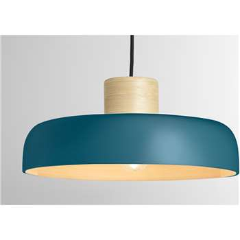 Todd Pendant Lamp Shade, Teal & Bamboo (H15 x W35 x D35cm)