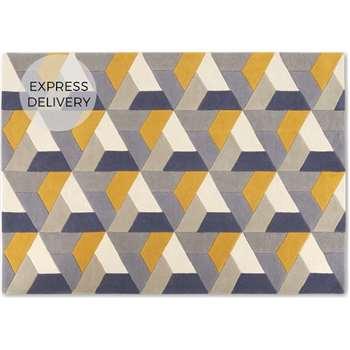 Toki Geometric Large Wool Rug, Mustard Yellow (H160 x W230 x D1.7cm)