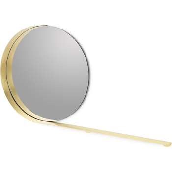 Tolio Round Mirror with Shelf, Brushed Brass (H60 x W112 x D8cm)