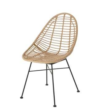 TOLUM - Resin Faux Rattan and Black Metal Garden Chair (H84.5 x W54 x D60cm)