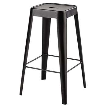 TOM Metal Bar Stool in Black (H69 x W40 x D40cm)