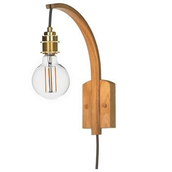 Tom Raffield Hanter Wall Light, Oak (H30 x W9 x D25cm)