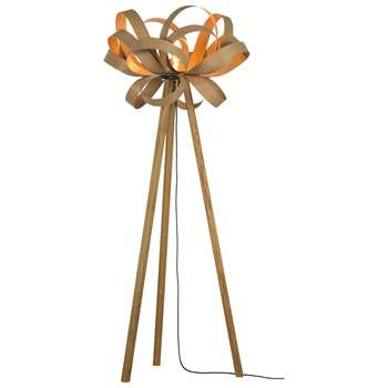 Tom Raffield Skipper Floor Lamp, Oak/Brass (H152 x W62 x D62cm)