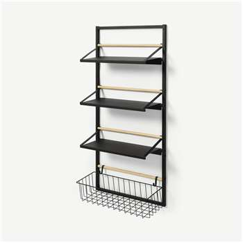Tomas 4-Tier Wall-Mounted Kitchen Storage Shelf, Extra Large, Black (H126 x W60 x D22cm)