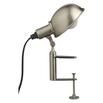 Tommy Silver brushed metal clamp desk lamp (Width 18cm)