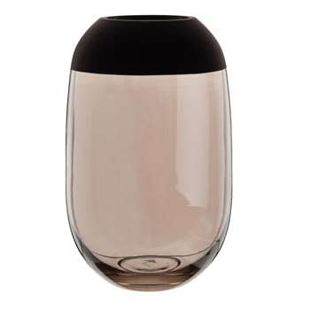 TOP - Grey and Black Tinted Glass Vase (H26 x W16 x D16cm)