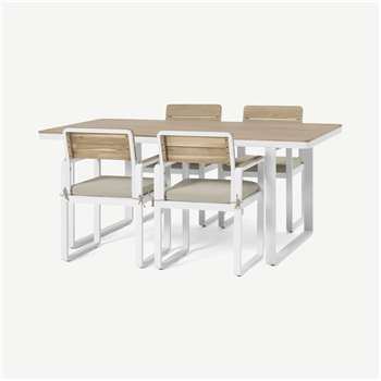 Topa Garden 4 Seater Dining Set, Acacia Wood & White