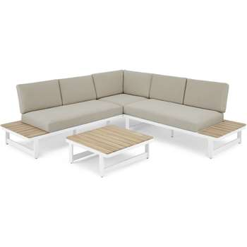 Topa Garden Corner Lounge Set, Acacia Wood and White (H85 x W251 x D251cm)