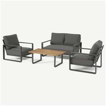 Topa Garden Low Lounge Set, Acacia Wood & Grey (H70.5 x W132 x D71cm)