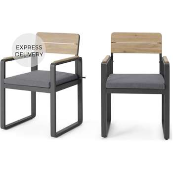 Topa Garden Set of 2 Dining Chairs, Acacia Wood and Grey (H84.5 x W53 x D52cm)