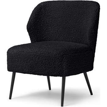 Topeka Accent Armchair, Black Faux Sheepskin (H75 x W61 x D62cm)