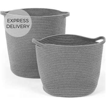 Toro Large Set of 2 Baskets with Handles, Grey (H40 x W36cm)