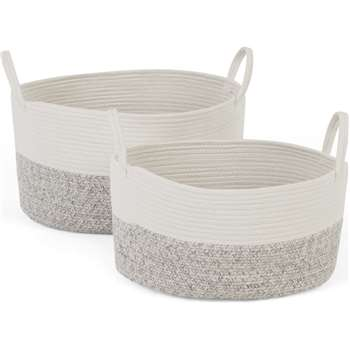 Toro Large Set of 2 Storage Baskets with Handles, White & Grey (H25 x W47 x D34cm)