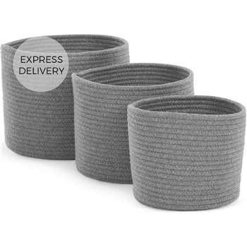 Toro Set of 3 Rope Baskets, Grey (H24 x W30cm)
