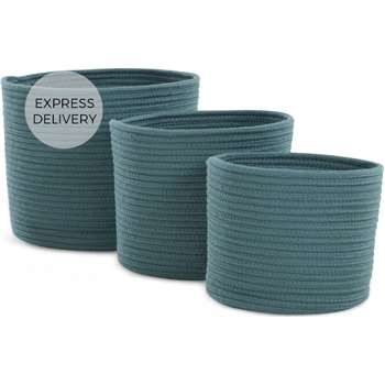 Toro Set of 3 Rope Baskets, Teal (H24 x W30cm)
