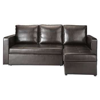 TORONTO 3 seater polyurethane corner sofa bed in brown (91 x 218cm)