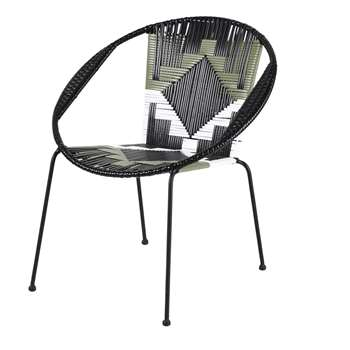 TOUBA Black Resin Garden Armchair with White and Green Graphic Prints (H72.5 x W79 x D65cm)