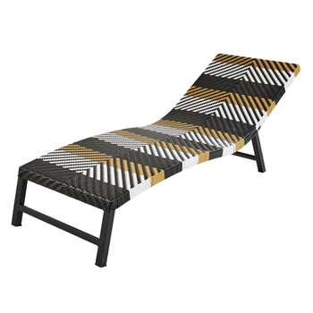 TOUBA Resin Wicker Sun Lounger with Black, White and Yellow Prints (H70 x W65 x D200cm)