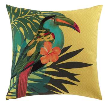 TOUCAN cushion in yellow 45 x 45cm