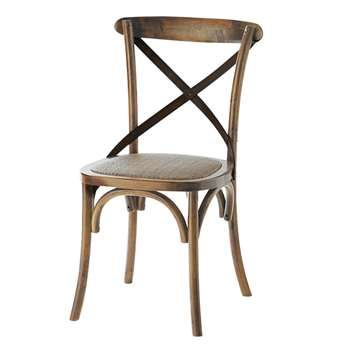 TRADITION Distressed rattan and oak chair (87 x 55cm)