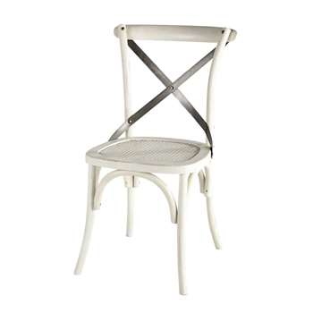 Tradition Rattan and metal chair in white (88 x 55cm)