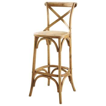 TRADITION Rattan and oak bar chair (110 x 48cm)