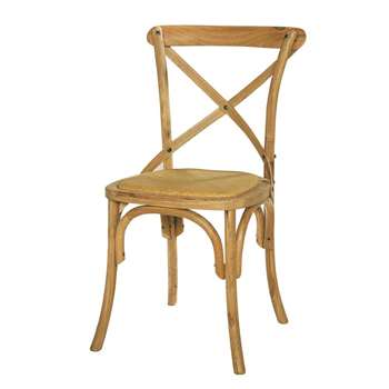TRADITION Rattan and solid oak chair (88 x 51cm)