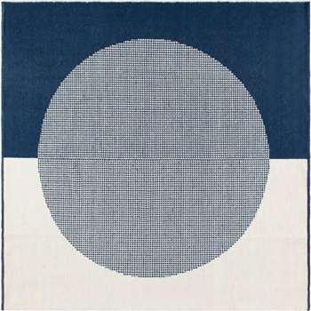 Trafa Wool Rug, Square, Indigo Blue (H200 x W200cm)