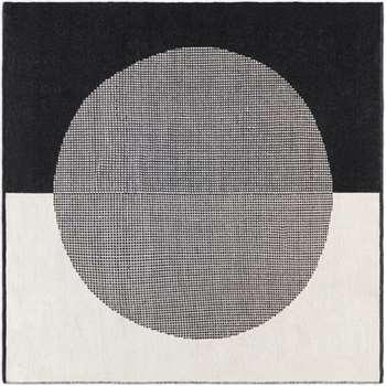 Trafa Wool Rug, Square, Off White & Black (H200 x W200 x D1cm)